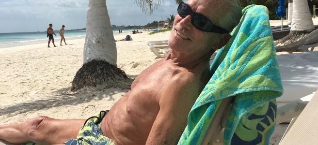 Grampa on the beach in Tulum.
